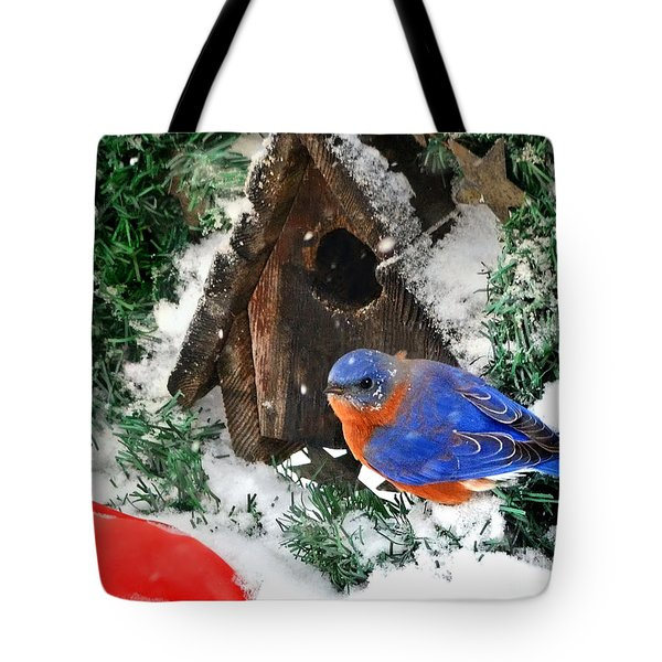 Snow Bluebird Christmas Card Tote Bag