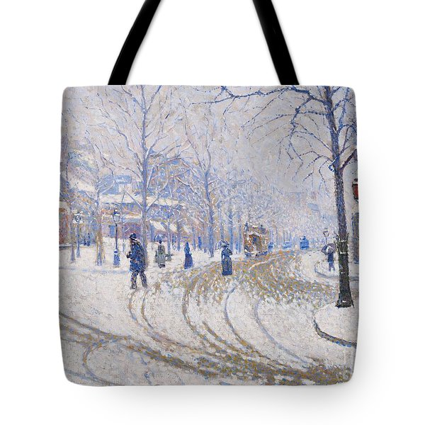 Snow  Boulevard De Clichy  Paris Tote Bag by Paul Signac