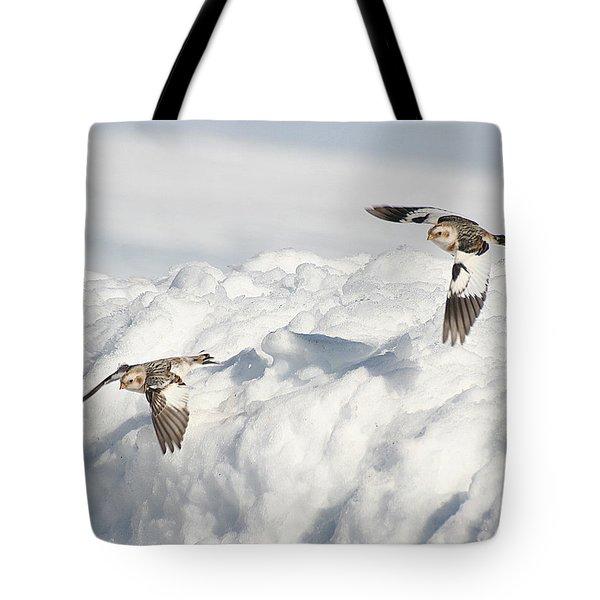 Snow Buntings In Flight Tote Bag