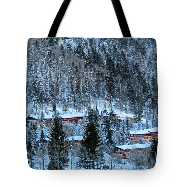 Snow Cabins Tote Bag