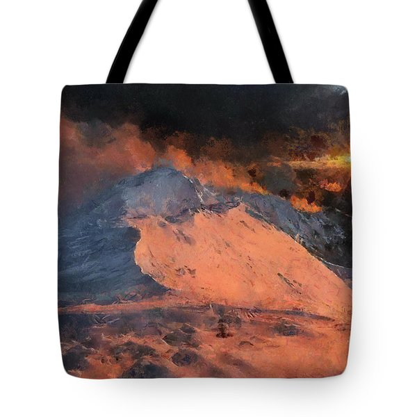 Snow Cap Sunset Tote Bag