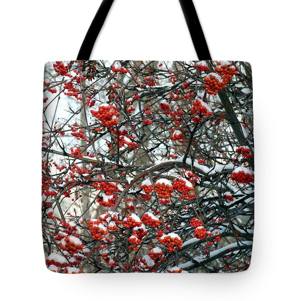 Snow- Capped Mountain Ash Berries Tote Bag