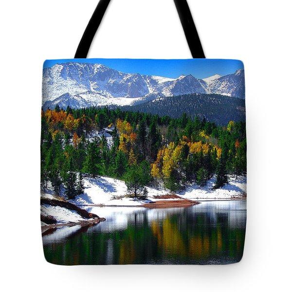 Snow Capped Pikes Peak At Crystal  Tote Bag by John Hoffman