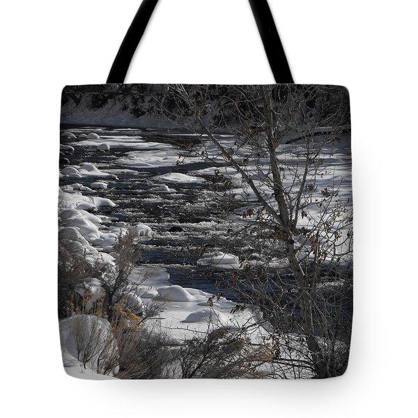 Snow Capped Stream Tote Bag by Adam Cornelison