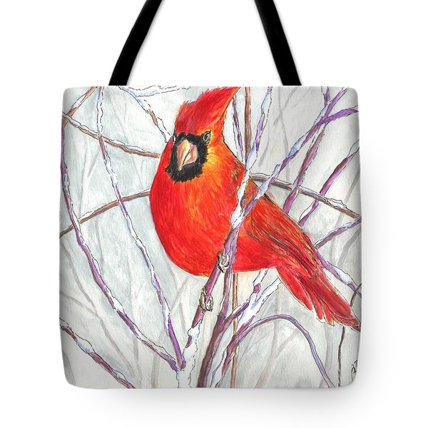 Snow Cardinal Tote Bag by Carol Wisniewski