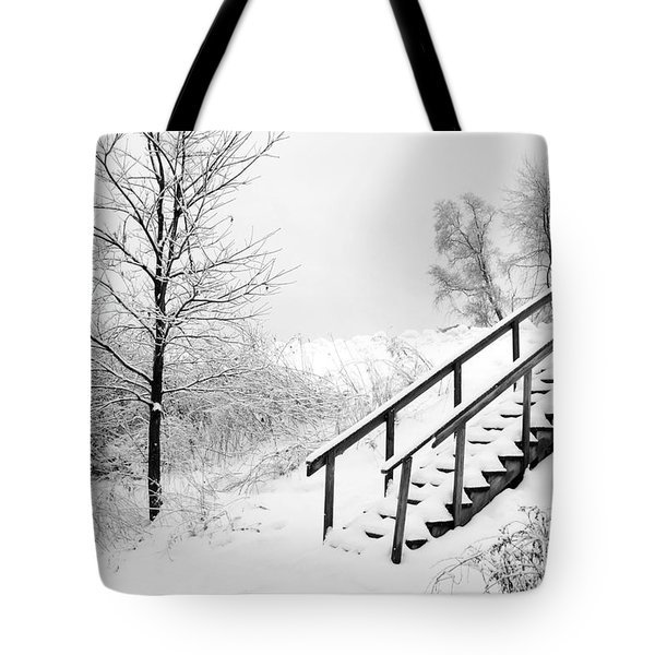 Snow Cover Stairs Tote Bag
