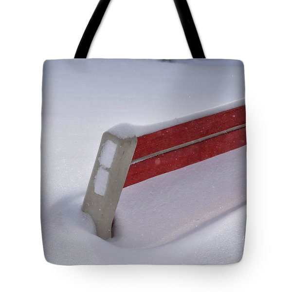 Snow Covered Bench Tote Bag by Thomas Woolworth