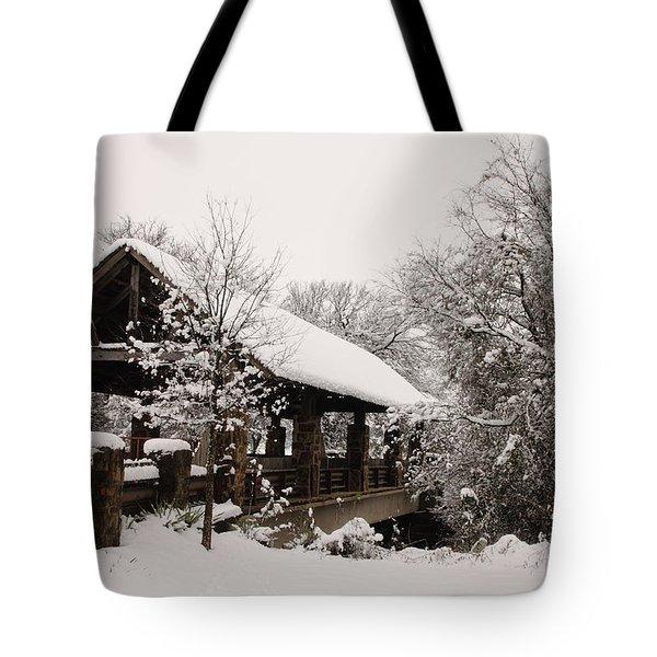 Snow Covered Bridge Tote Bag by Robert Frederick
