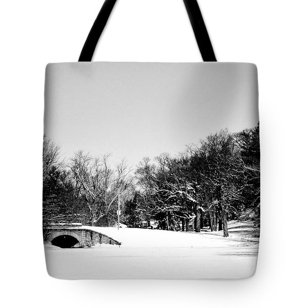 Snow Covered Bridge Tote Bag