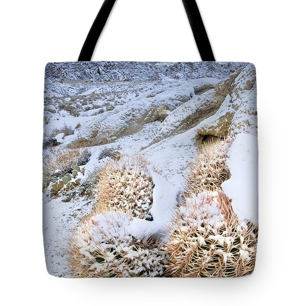 Tote Bag featuring the photograph Snow Covered Cactus Below Mount Whitney Eastern Sierras by Dave Welling