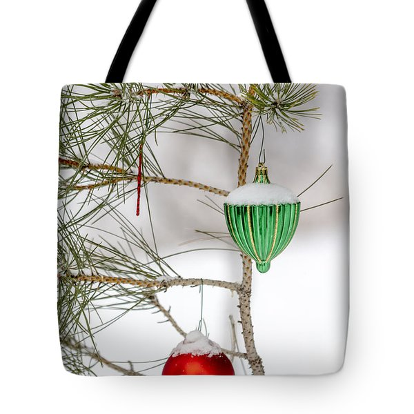 Snow Covered Christmas Ornaments Tote Bag