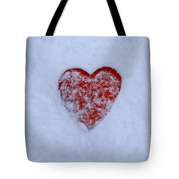 Snow-covered Heart Tote Bag