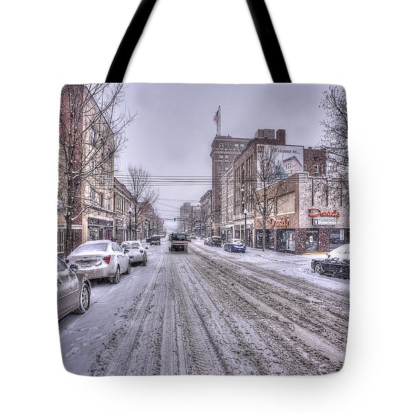Snow Covered High Street And Cars In Morgantown Tote Bag by Dan Friend