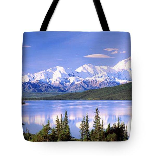 Snow Covered Mountains, Mountain Range Tote Bag