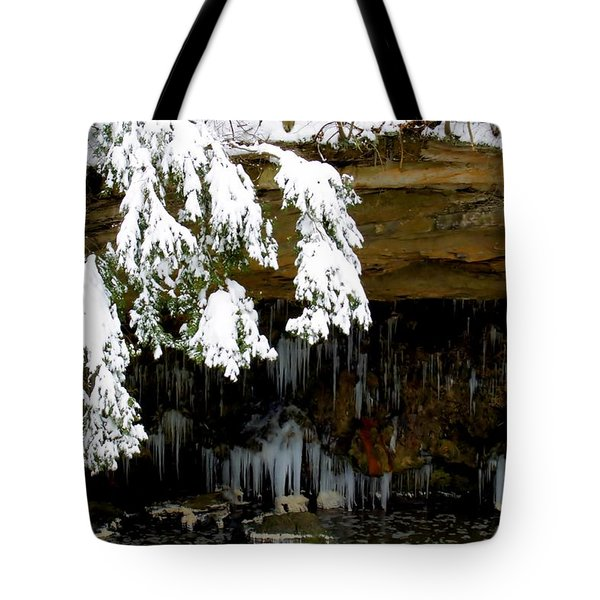 Snow Covered Pine Tote Bag