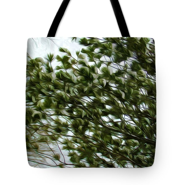 Snow Covered Pine Trees Tote Bag by Lanjee Chee