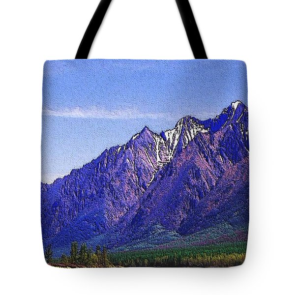Snow Covered Purple Mountain Peaks Tote Bag by PainterArtist FIN