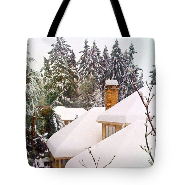 Snow Covered Rooftops - Winter In Lake Oswego Or Tote Bag
