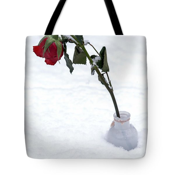 Snow-covered Rose Tote Bag by Joana Kruse