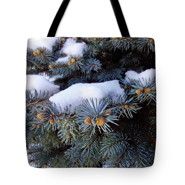 Snow Covered Spruce Tote Bag by Mikki Cucuzzo