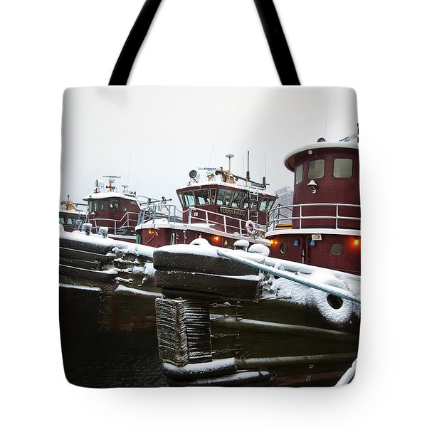 Snow Covered Tugboats Tote Bag