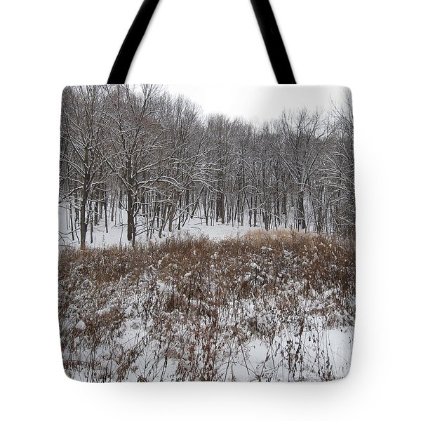 Snow Covered Woodland Tote Bag