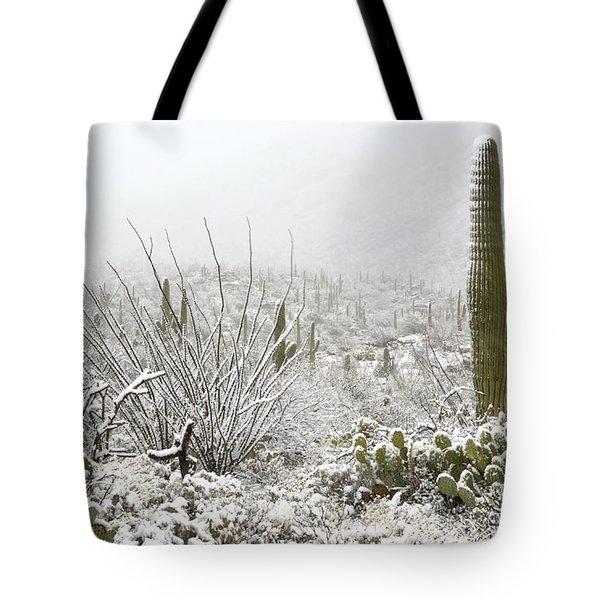 Snow Day In The Desert  Tote Bag by Saija  Lehtonen