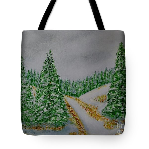 Tote Bag featuring the painting Snow Day by Melvin Turner