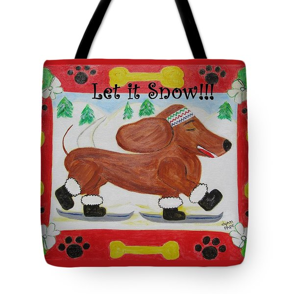 Snow Dog Tote Bag by Diane Pape