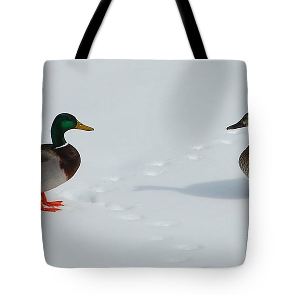 Tote Bag featuring the photograph Snow Ducks by Mim White
