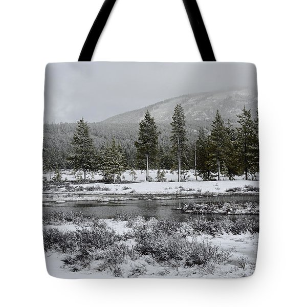 Snow-dusted Gibbon Meadows In Yellowstone Tote Bag by Bruce Gourley