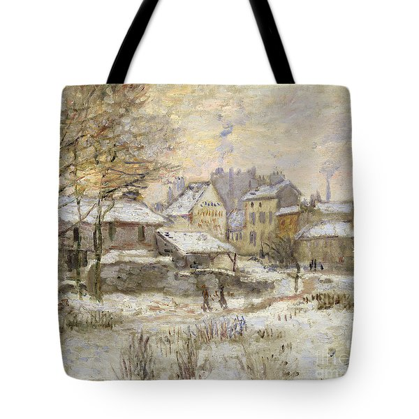Snow Effect With Setting Sun Tote Bag by Claude Monet