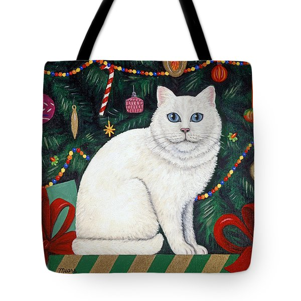 Snow Flake The Cat Tote Bag by Linda Mears
