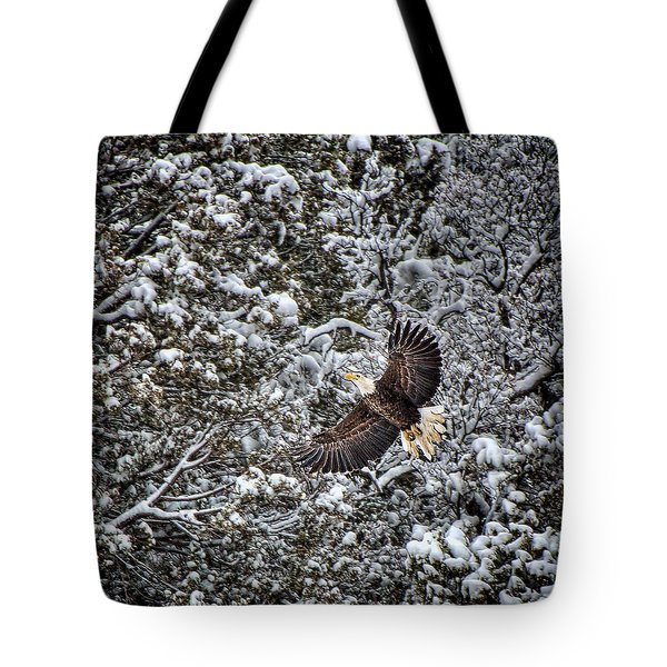 Tote Bag featuring the photograph Snow Flight Bald by Britt Runyon