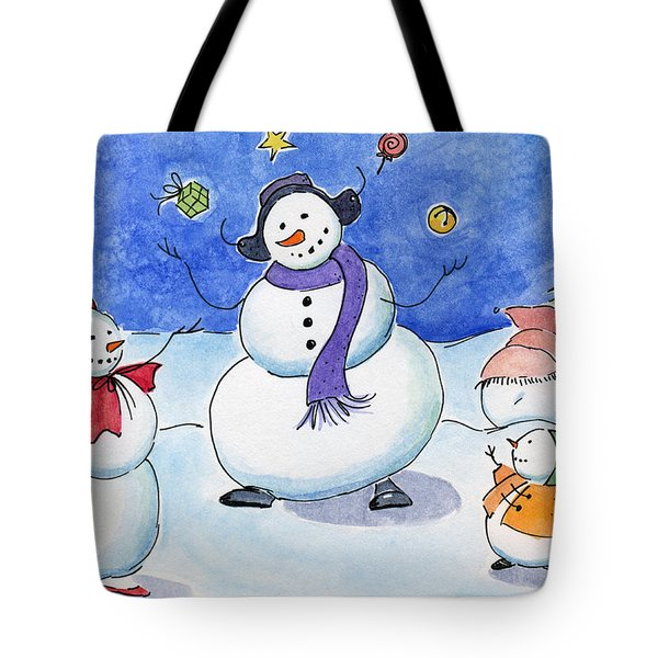 Snow Folks - Family Time. Tote Bag by Katherine Miller