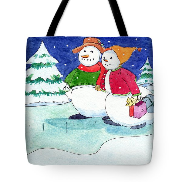 Snow Folks - Shoppers Tote Bag by Katherine Miller