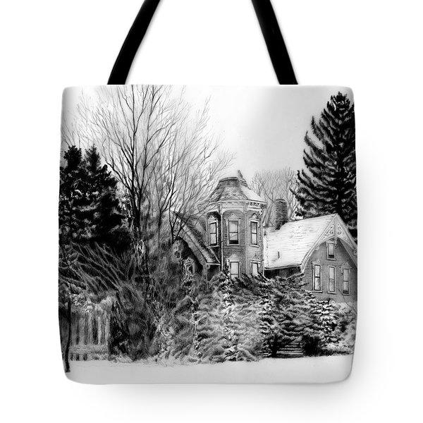Da196 Snow House By Daniel Adams Tote Bag