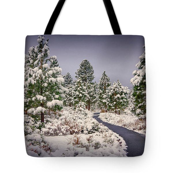 Tote Bag featuring the photograph Snow In Galena by Janis Knight