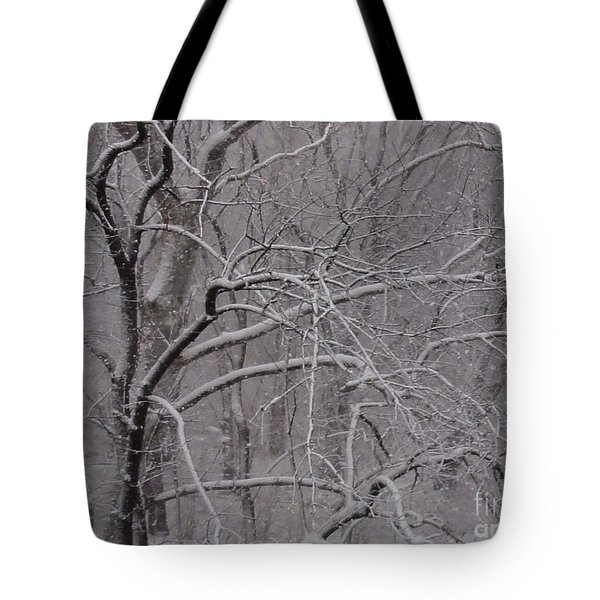 Snow In The Trees At Bulls Island Tote Bag