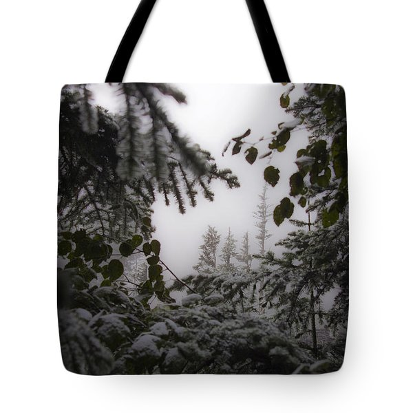Snow In Trees At Narada Falls Tote Bag
