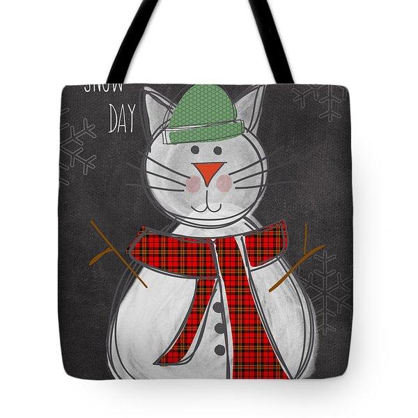 Snow Kitten Tote Bag by Linda Woods