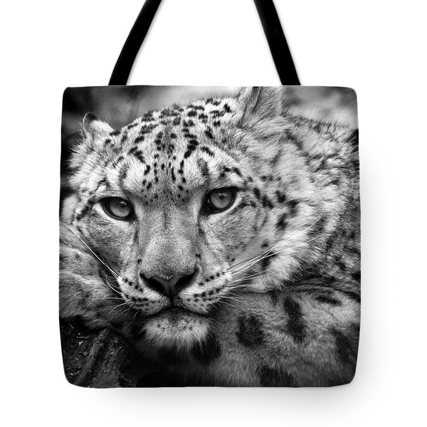 Snow Leopard In Black And White Tote Bag