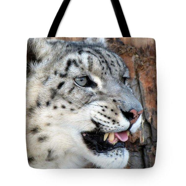Snow Leopard Snarl Tote Bag by Ramona Johnston