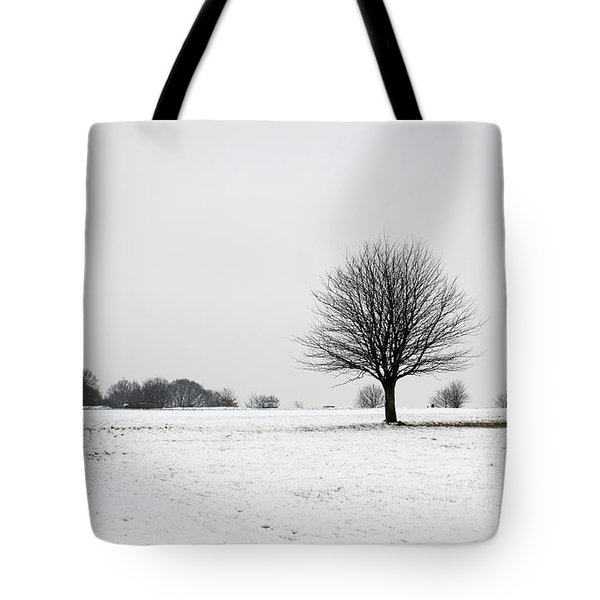 Snow On Epsom Downs Surrey England Uk Tote Bag