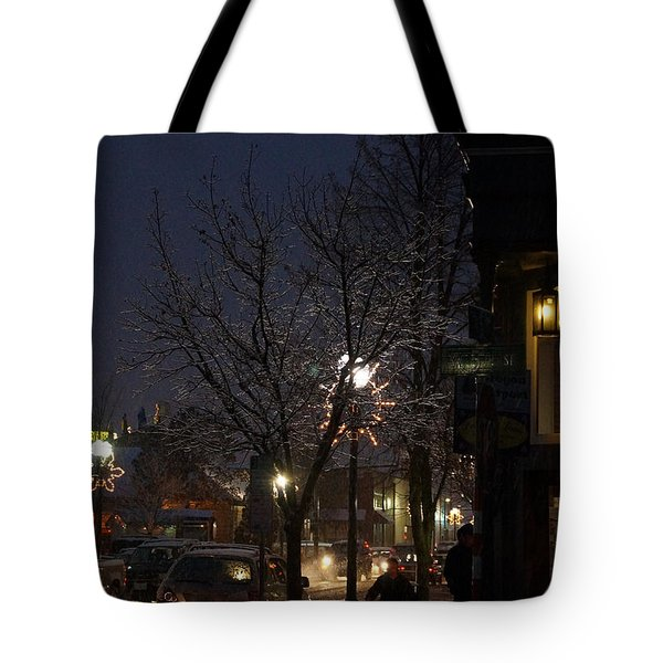 Snow On G Street 4 - Old Town Grants Pass Tote Bag by Mick Anderson