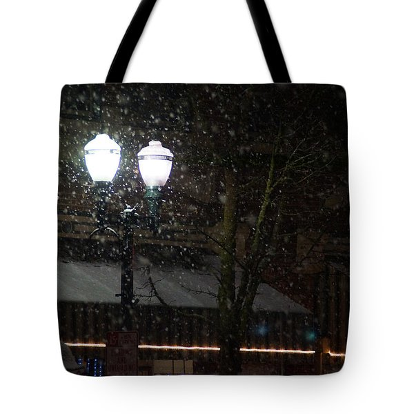 Snow On G Street In Grants Pass - Christmas Tote Bag by Mick Anderson