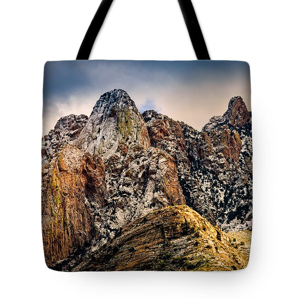 Tote Bag featuring the photograph Snow On Peaks 45 by Mark Myhaver