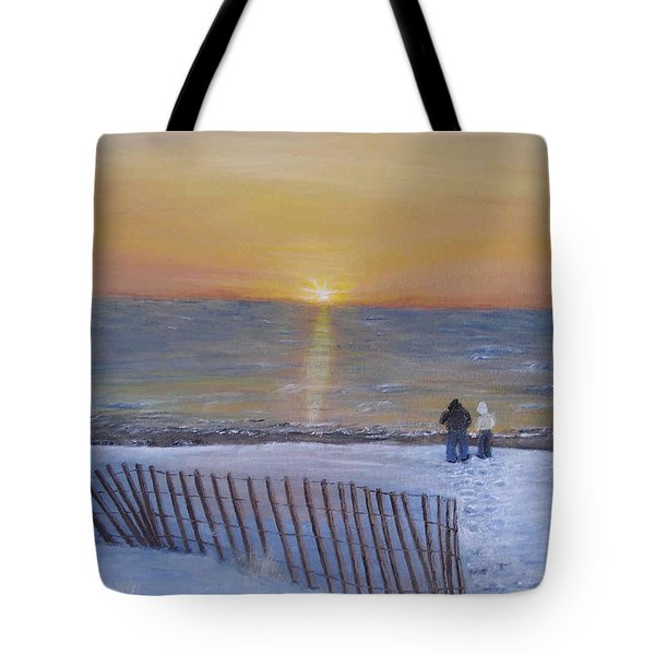 Snow On The Beach Tote Bag