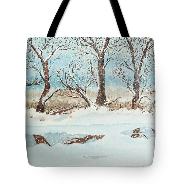 Snow On The Ema River 2 Tote Bag