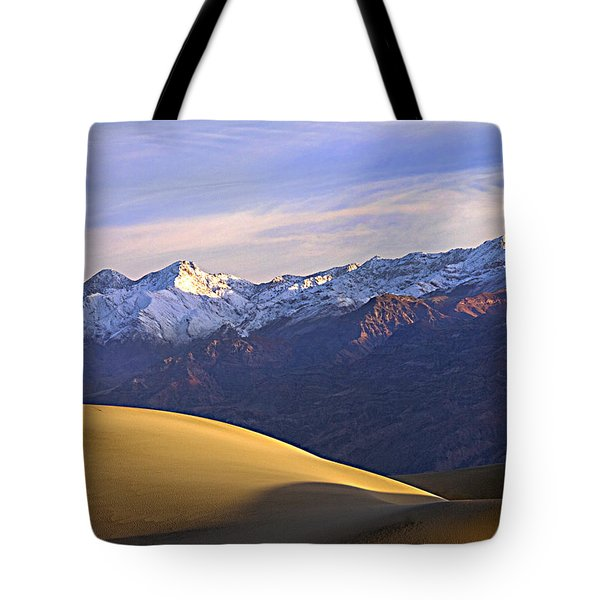 Snow On The Grapevine Range.  Tote Bag